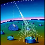 High-energy cosmic rays create extensive air showers that begin many miles above the surface. The Pierre Auger collaboration uses both fluorescence detectors, which detect ultraviolet light emitted by air showers, and surface detectors, which record particles as they traverse tanks filled with 3,000 gallons of pure water.