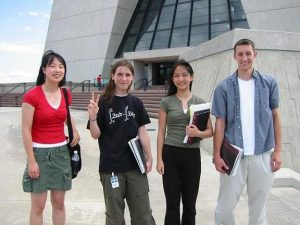 (left to right) Julia Ye, Paul Bierdz, Ting Wu and Phil Buksa have spent much of their summer vacation learning about life as a young Fermilab researcher.