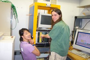 Julia Ye and Paul Bierdz test high voltage supplies for the DZero collider detector experiment.
