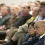 Fermilab Director Pier Oddone and Deputy Director Young-Kee Kim at Friday's presentation.