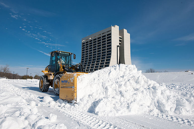 Roads and Grounds' Bob Lootens clears snow from laboratory roads on Feb. 2. Photo: Reidar Hahn