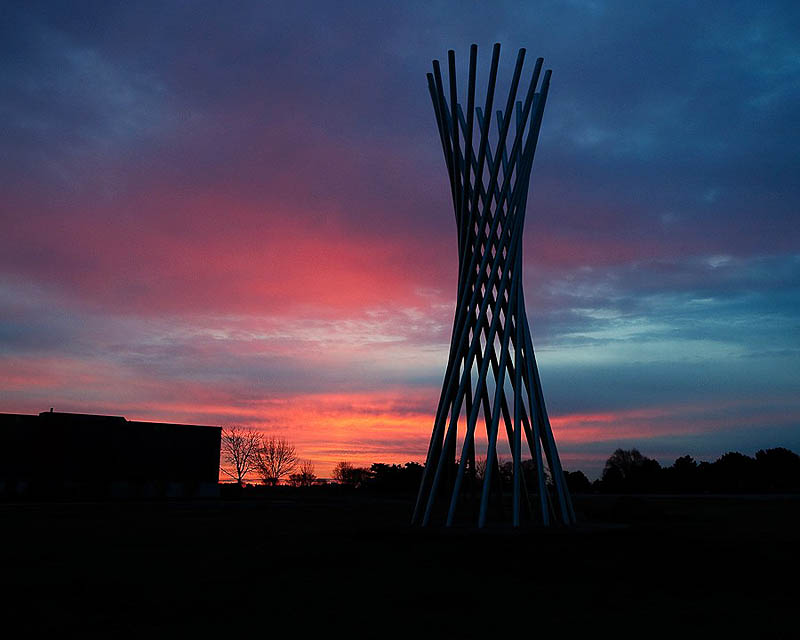 The Tractricious sculpture at dawn Friday, March 25. Photo: Greg Vogel, AD.