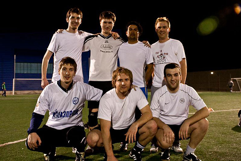 "Members of ""Fermilab Deportivo"", a soccer team, pose for a photo after winning the Windy City Wanderers Football Club tournament in Chicago on April 12. Pictured: Alexander Dzyuba, TD; Alexander Romanenko, TD; Donato Passarelli, TD; Guillermo Fernandez Moroni, PPD; Christian Graf, DZero; Alfonso Castillo, BSS; and Alexey Naumov, TD. Photo: Alexey Naumov"