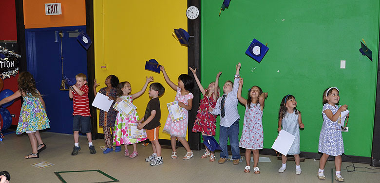 Children attending the Fermilab Children's Center celebrate after their graduation from kindergarten. Photo: Fred Nobrega