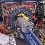 """The CDF detector, about the size of a 3-story house, weighs about 6,000 tons. Its subsystems record the """"debris"""" emerging from high-energy proton-antiproton collisions. The detector surrounds the collision point and records the path, energy and charge of the particles emerging from the collisions. This information can be used to find and determine the properties of the Xi-sub-b particle."""