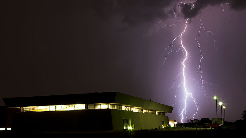 Lightning strikes near the SRF Test Facility at the New Muon Lab in the early morning on Friday, July 22. Photo: Marty Murphy, AD.