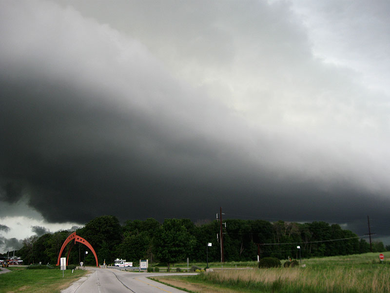 This photo of the storm over the Pine Street entrance is one of many taken by Fermilab employees of the storm Friday, July 22. Click here to see them all. Photo: Michael A. Tartaglia, TD