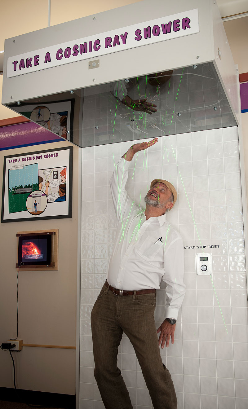 Fermilab director Pier Oddone participates in the official unveiling of the new cosmic ray exhibit at the Lederman Science Center on Sept. 7. Photo: Reidar Hahn