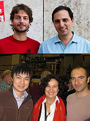 These CDF physicists contributed to this data analysis. Clockwise from top left: Marco Bentivegna and Marco Rescigno, both from Sapienza, University of Rome, Italy; Fabrizio Margaroli, Daniela Bortoletto and Qiuguang Liu, all from Purdue University.