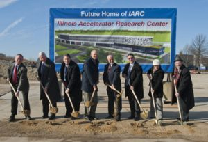 Officials broke ground for the Illinois Accelerator Research Center at Fermilab Dec. 16. From left: Bob Kephart, IARC Project Director; Jim Siegrist, associate director of the Office of Science for the Office of High Energy Physics; Michael Weis, DOE Fermilab site manager for the Office of Science; William Brinkman, director of the Office of Science for the DOE; Pier Oddone, Fermilab director; Warren Ribley, director of the Illinois Department of Commerce and Economic Opportunity; Linda Holmes, Illinois state senator; and Michael Fortner, Illinois state representative.