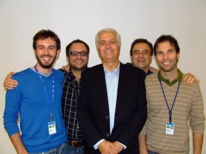 These CDF physicists contributed to this data analysis. From left: Angelo Di Canto, INFN Pisa; Diego Tonelli, Fermilab; Luciano Ristori, INFN Pisa; Giovanni Punzi, Pisa University and CDF co-spokesperson; Michael J. Morello, INFN Pisa.