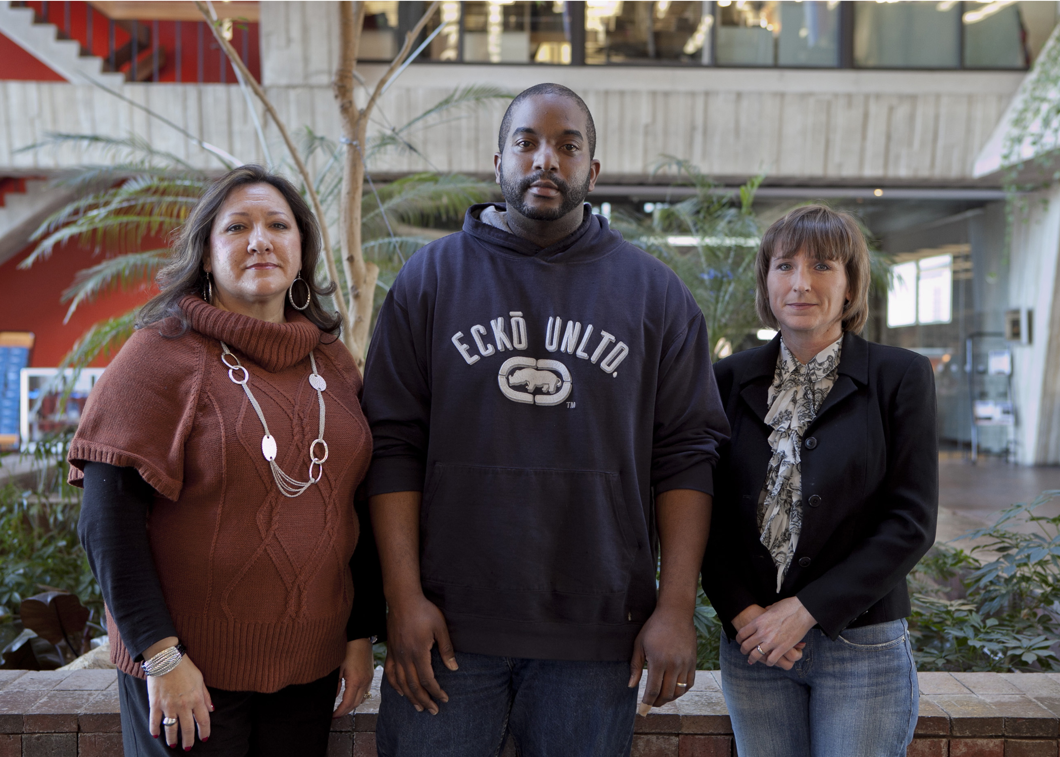 These individuals received degrees through Fermilab's Tuition Assistance Program. From left: Martha Garcia, FE, BS in Business Administration; Stephen Cozzens, AD, BS in Business Administration; Linda Bashaw, AD, BS in Information Technology. Not pictured: Herman Cease, PD, PhD in Materials Science and Engineering; Matthew Domeier, AD, AA in Science; Alex Hernandez, BS, BS in Network and Communication Management. Photo: Cindy Arnold