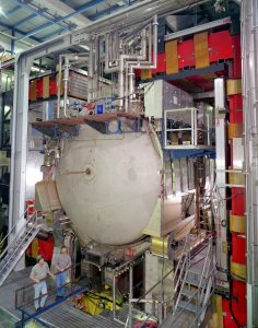 Scientists measure the energy, momentum and electric charges of subatomic particles using a three-story assembly of sub detectors wrapped around DZero's collision area like the layers of an onion.
