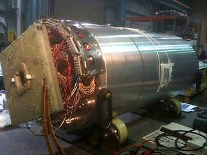 HQ02a is a superconducting quadrupole magnet made from modern niobium tin that will play a key role in developing a new beam focusing system for CERN's Large Hadron Collider. (Photo by Helene Felice, Berkeley Lab)
