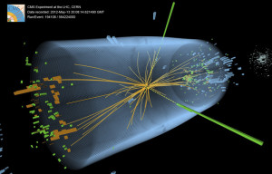 CMS Higgs Event Graphic - The discovery of the Higgs particle in 2012 was named breakthrough of the year by Science magazine. The CMS experiment as one of two experiments at the Large Hadron Collider that recorded telltale signs of the production of the Higgs boson in high-energy proton-proton collisions. Credit: CMS Collaboration/CERN