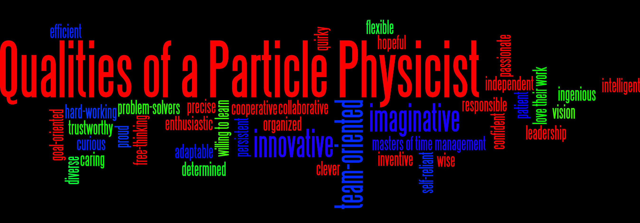 "After viewing the documentary ""Fermilab: Science at Work,"" Hinsdale Middle School 8th graders created this word cloud composed of descriptions of particle physicists. Kelly Sledz teaches the class."
