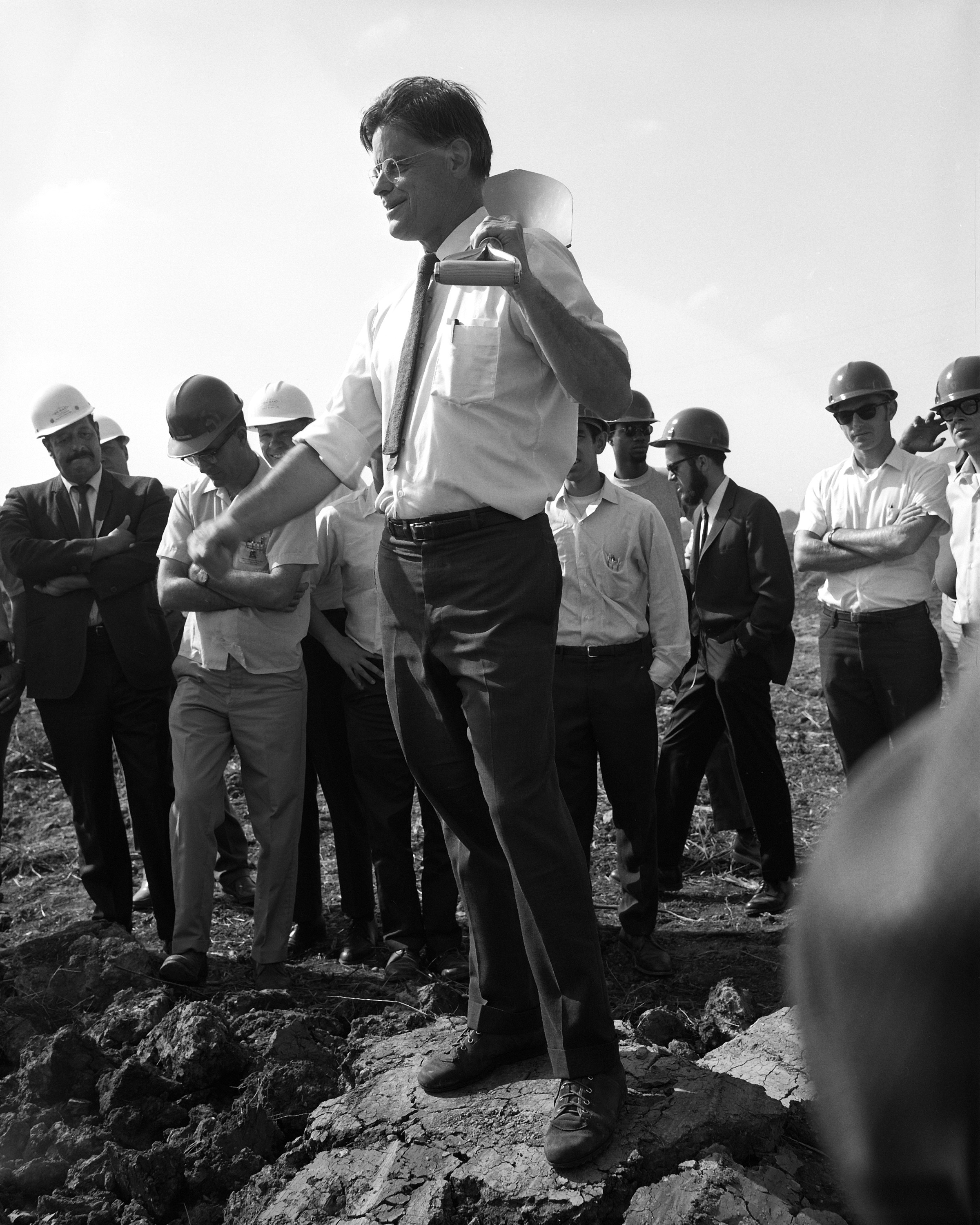 Today marks the 100th anniversary of the birth of Fermilab's first director, Robert Wilson. Here he breaks ground for the Main Ring. Photo: Fermilab