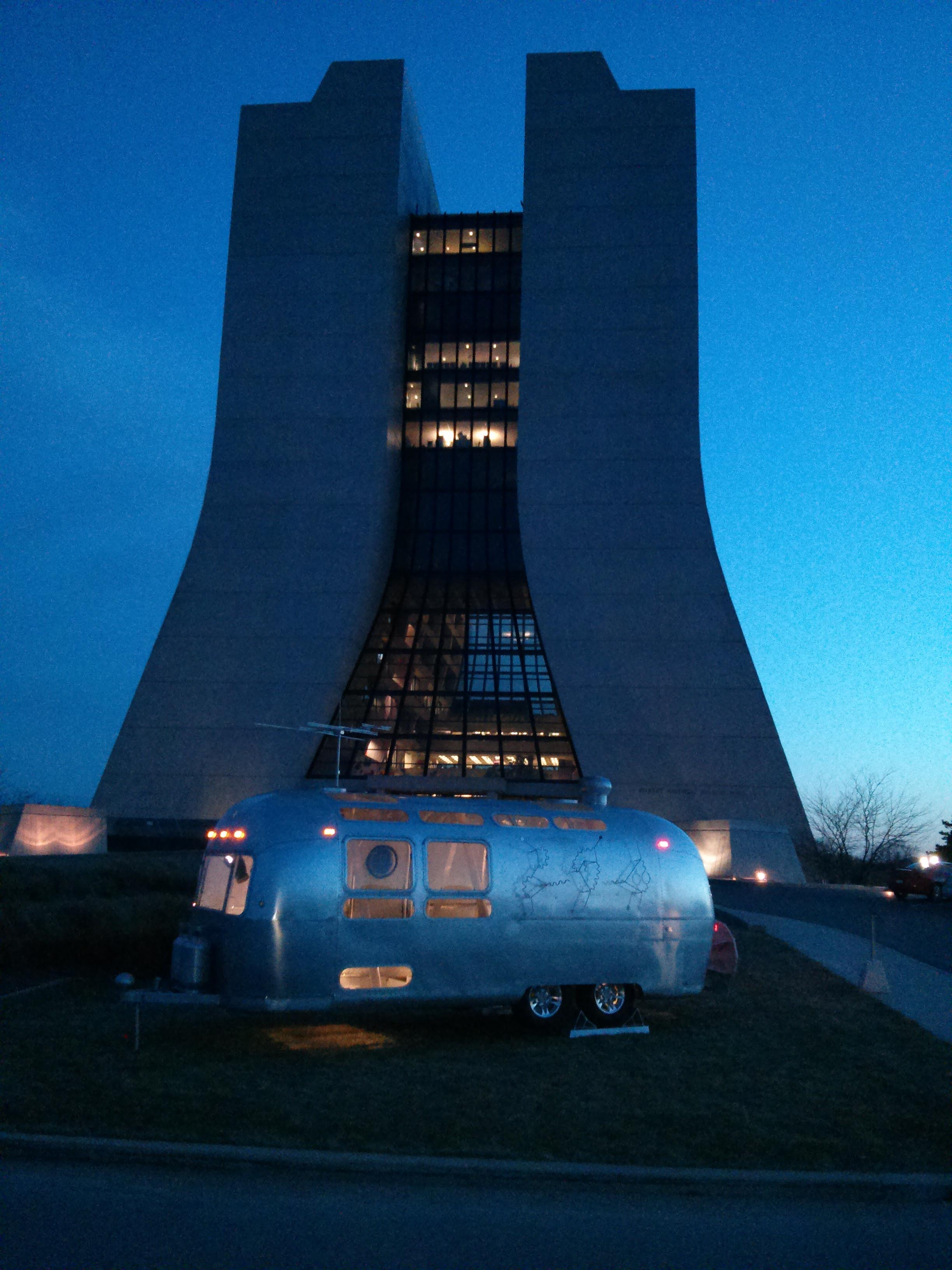 With the recent installation of an Airstream trailer on the front lawn of Wilson Hall, it looks as though a family of Feynman fans is camping out overnight at Fermilab. Photo: James Simone, SCD
