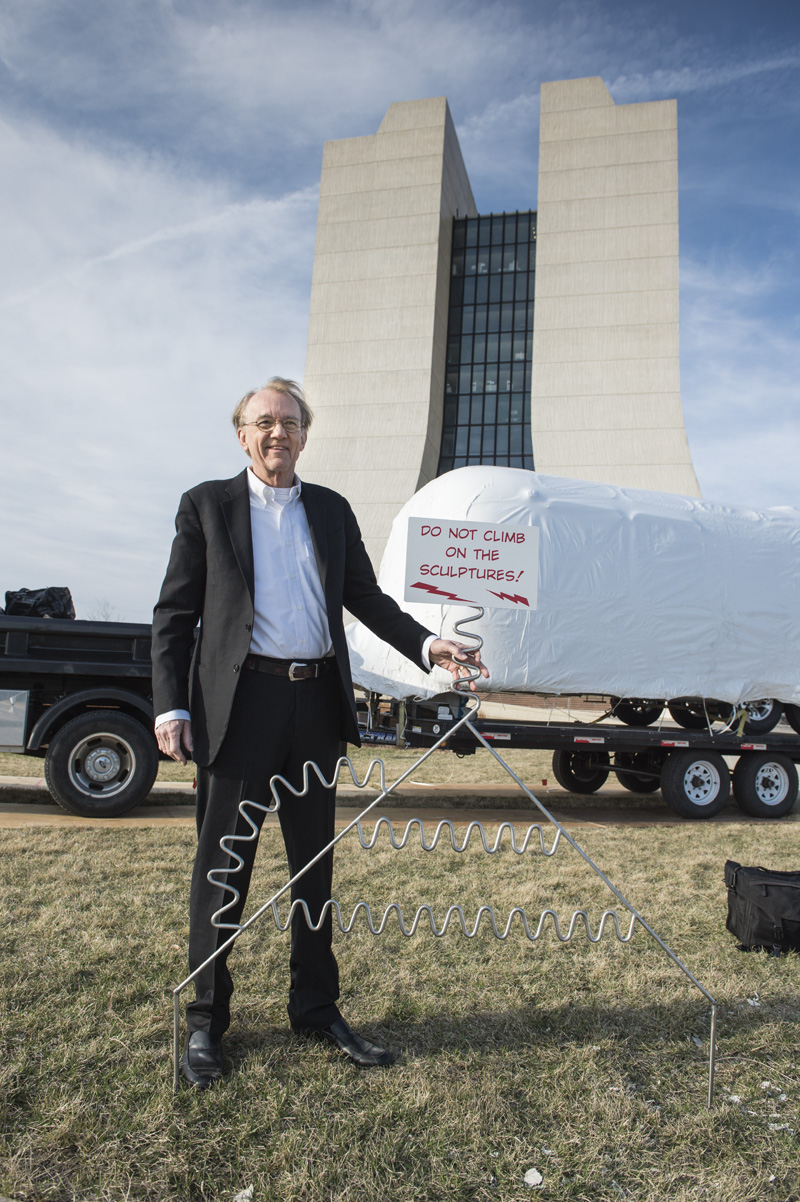 """Artist Edward Tufte's art installation """"Interplanetary Explorer"""" was put into place in front of Wilson Hall on Thursday. It is one piece of his art exhibit at Fermilab. The exhibit opens tomorrow as part of the laboratory's Feynman celebration. Photo: Reidar Hahn"""