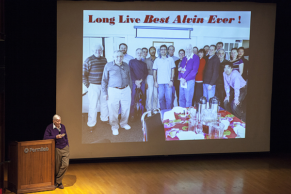 At this year's Users Meeting, Fermilab staff paid tribute to scientist Alvin Tollestrup, who was instrumental in designing the Tevatron. During his tribute, Tollestrup listed the ways in which he was lucky — to have had an attentive 6th-grade teacher, a good Ph.D. advisor, and a chance to come to the Fermilab, where he helped make the Tevatron a reality. Photo: Cindy Arnold. View more photos.