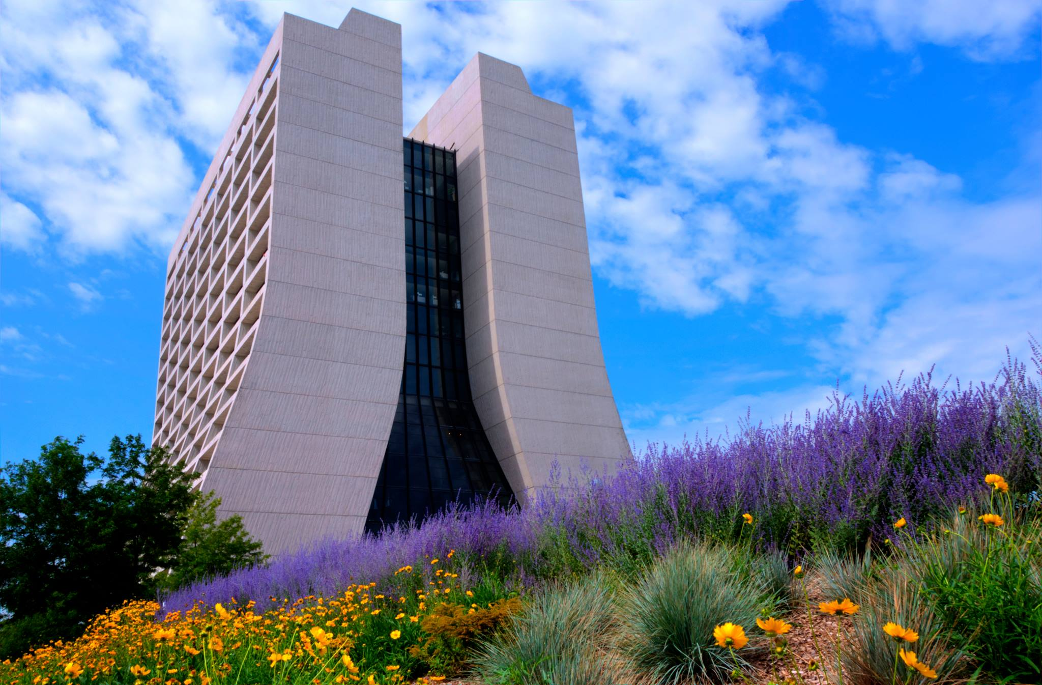 Vibrant colors surround Wilson Hall on a summer day. Photo: Laura Wimmers Paterno