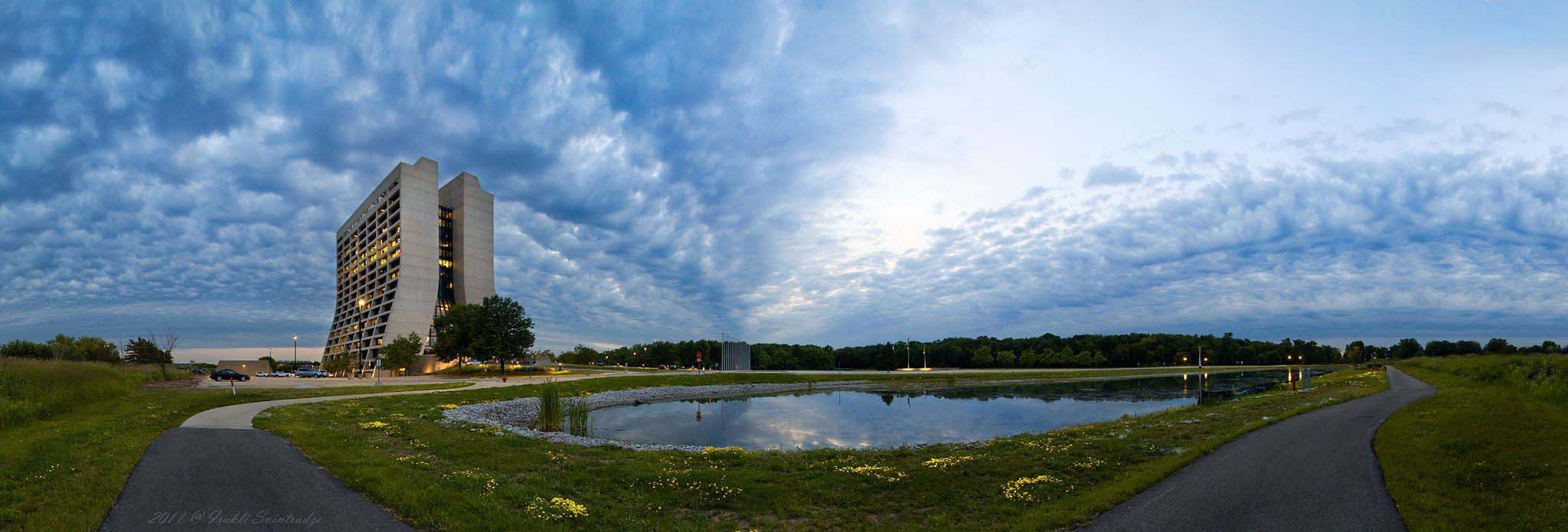 Irakli Svintradze, formerly of Kansas State University and the LHC Physics Center, took this panoramic view of the Fermilab grounds in the summertime. Photo: Irakli Svintradze