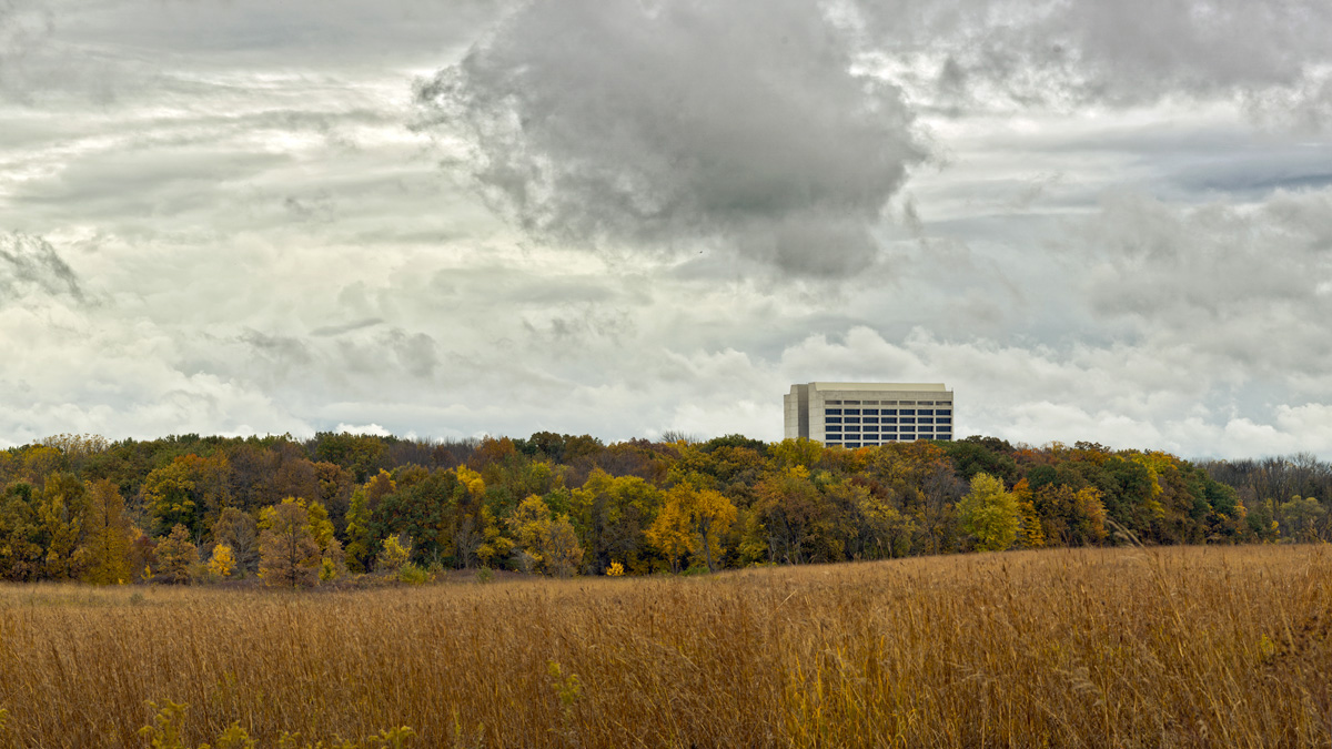 Fall's many red and golden hues take over the Fermilab landscape. Photo: Marty Murphy, AD