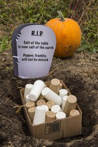 Requiescat in pace, table salt and pepper. Your tabletop life was spicy. Your underground existence will be even more so.