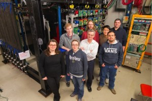 Pictured here is part of the test beam crew. From left: Anne Norrick (College of William and Mary), Rob Fine (University of Rochester), Carrie McGivern (University of Pittsburgh), Leo Bellantoni, (Fermilab, front), Dan Ruterbories (University of Rochester, in red), Aaron Bercellie (University of Rochester), Manuel Alejandro Ramirez (University of Guanajuato), Geoff Savage (Fermilab).