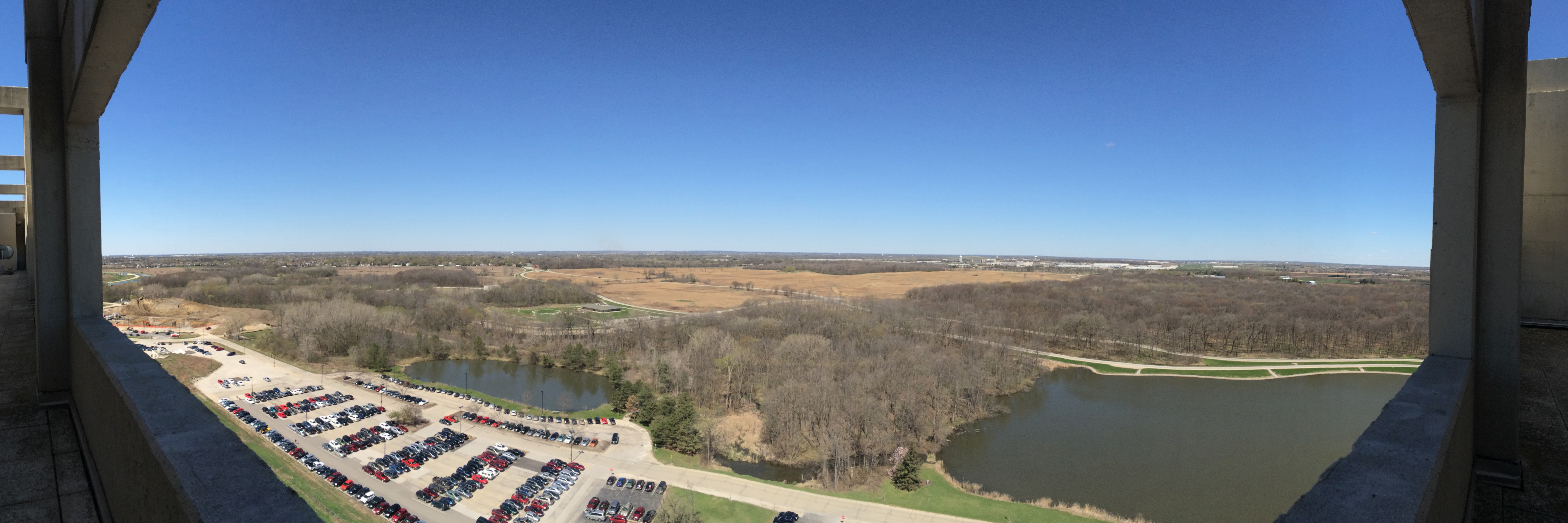 On a clear day you can see … a westward panoramic view of the Fermilab property and beyond. Photo: Dawn McWha, FESS