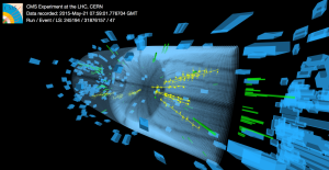 One of the first collisions in the CMS detector at the record-high energy of 13 TeV, taken during testing for the second run of the Large Hadron Collider in late May. Image: CMS/CERN