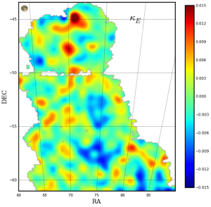 This is the first Dark Energy Survey map to trace the detailed distribution of dark matter across a large area of sky. The color scale represents projected mass density: red and yellow represent regions with more dense matter. The dark matter maps reflect the current picture of mass distribution in the universe where large filaments of matter align with galaxies and clusters of galaxies. Clusters of galaxies are represented by gray dots on the map - bigger dots represent larger clusters. This map covers three percent of the area of sky that DES will eventually document over its five-year mission. Image: Dark Energy Survey