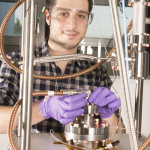 Graduate student Mattia Checchin, who is conducting his thesis research at Fermilab, won first prize for his poster on superconducting radio-frequency accelerator cavity performance at the recent SRF 2015 conference. Photo: Reidar Hahn