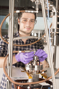 Graduate student Mattia Checchin researches superconducting radio-frequency accelerator cavity performance at Fermilab. Photo: Reidar Hahn