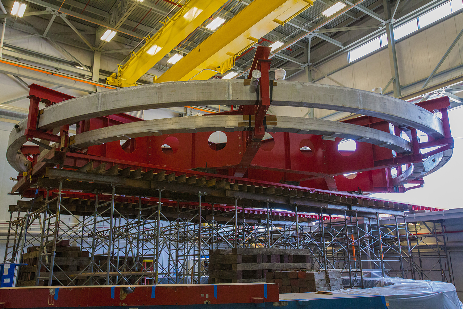 giant electromagnet completes its journey  moves into its