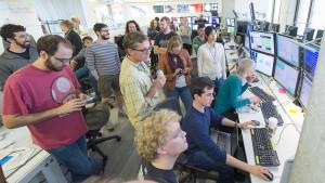 Neutrino scientists in Fermilab's Remote Operations Center West anticipate first beam in MicroBooNE's detector. Photo: Reidar Hahn