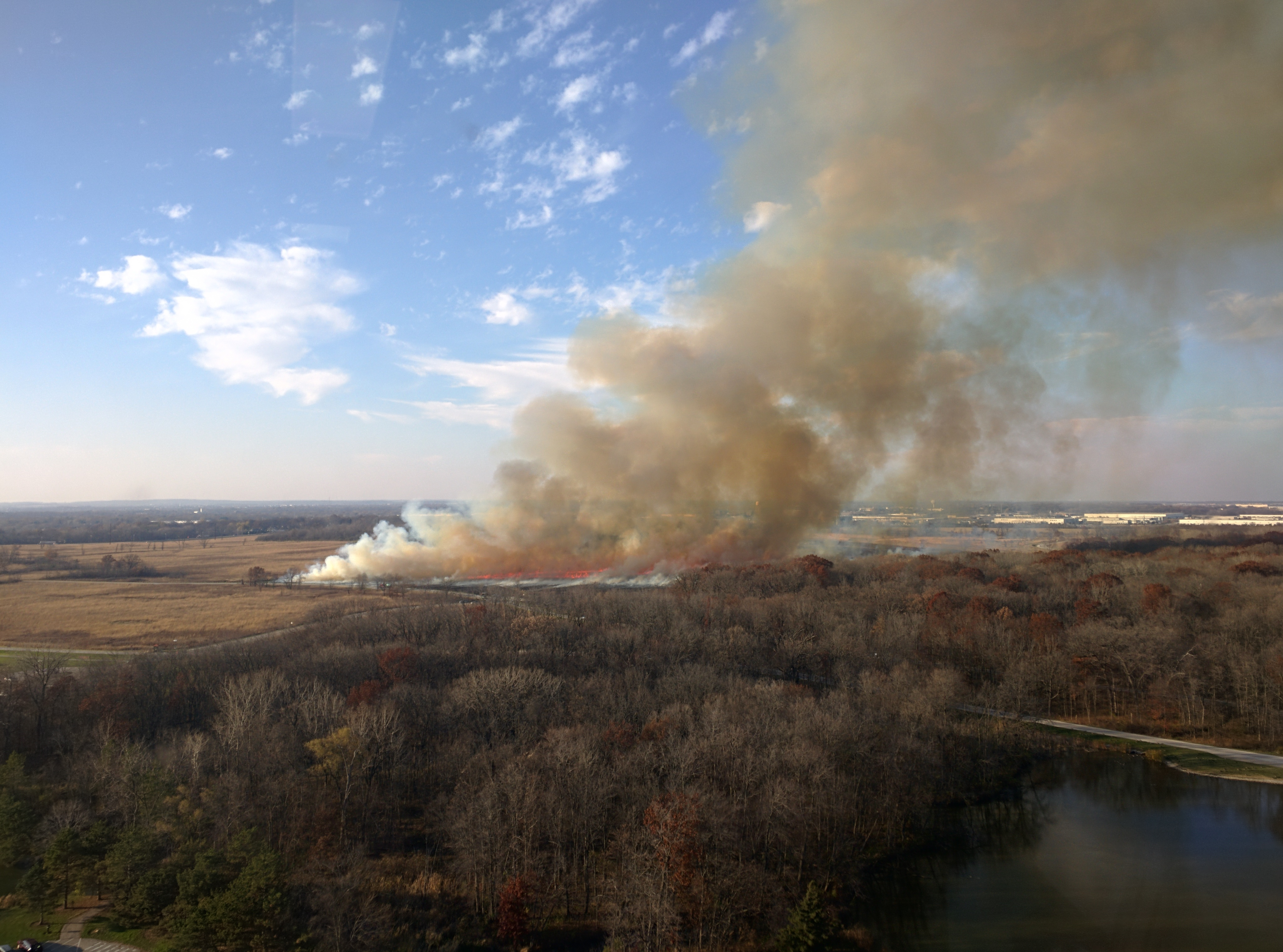 This shows a 15th-floor view of the area during a prairie burn. Photo: Valery Stanley, WDRS