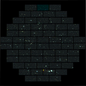 Composite Dark Energy Camera image of one of the sky regions that the collaboration will use to study supernovae, exploding stars that will help uncover the nature of dark energy. The outlines of each of the 62 charge-coupled devices can be seen. This picture spans 2 degrees across on the sky and contains 520 megapixels.
