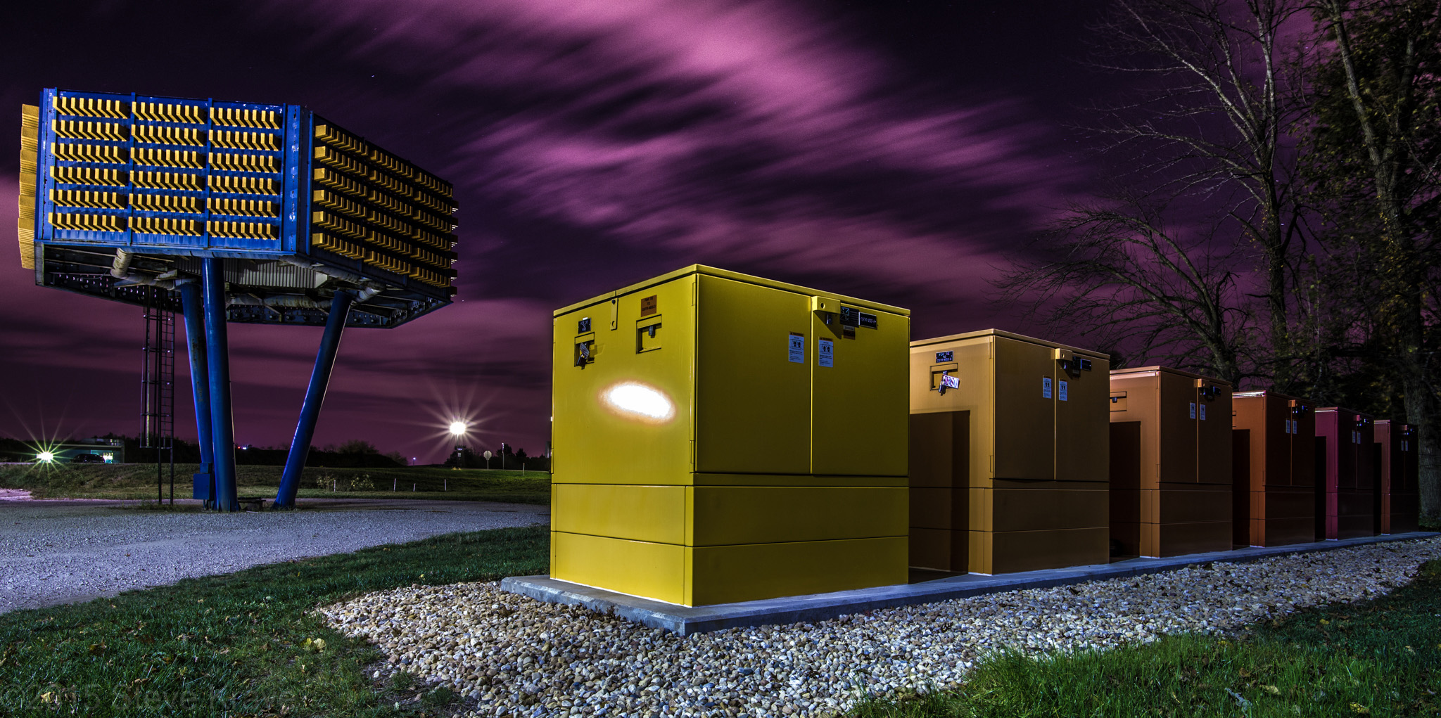 The capacitor tree and power switches, dressed in warm colors. Photo: Steve Krave, TD
