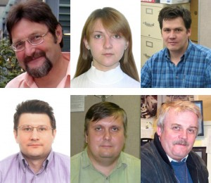 From top left to bottom right: Volodymyr Aushev and Olga Gogota (Taras Shevchenko National University of Kiev, Ukraine), Dmitri Bandurin and Peter Svoisky (University of Virginia, Charlottesville), Aleksei Popov (IHEP, Protvino, Russia) and George Vazmin (JINR, Dubna, Russia) are the primary analysts for this measurement.