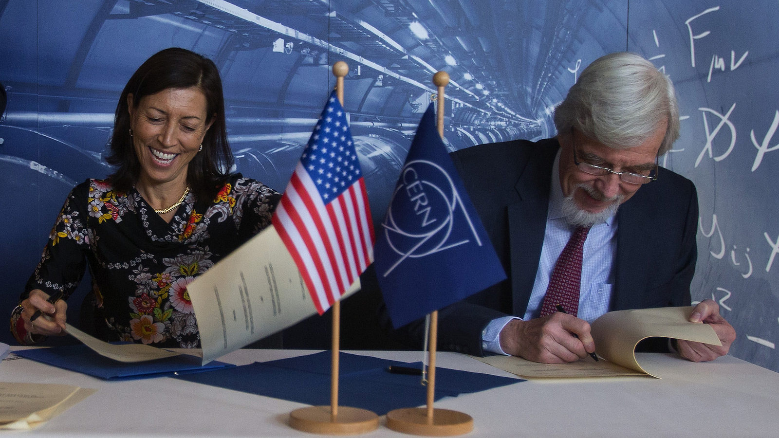 The United States and the European physics laboratory have formally agreed to partner on continued LHC research, upcoming neutrino research and a future collider. Photo: Eric Bridiers, US Mission