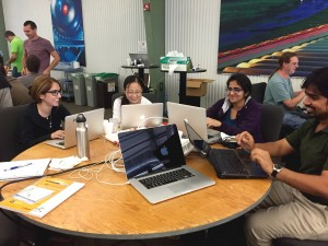 These are four of the more than 50 experiment contributors who traveled from around the world to spend a week at Fermilab developing their skills at the first ever art/LArSoft course. Photo: Hanah Chang, OCIO