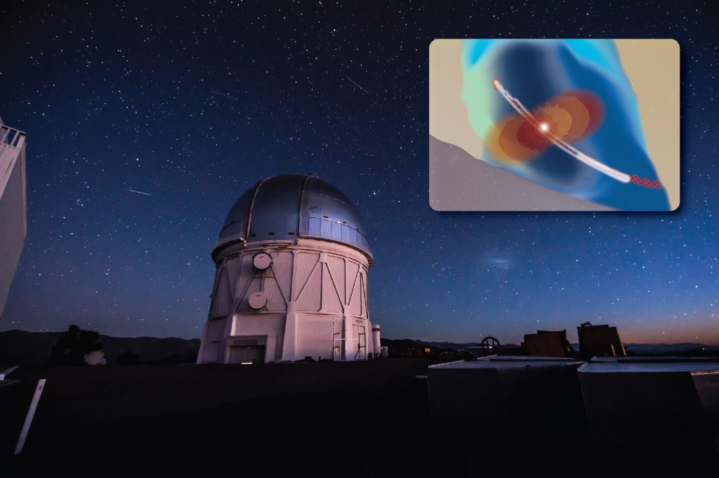 DES-GW is using the Dark Energy Camera in the Blanco Telescope in Chile to look for sources of gravitational waves. The red, orange and yellow areas the inset represent gravitational waves, and the bright light represents the source of these waves. The thin white arc illustrates a narrow area of sky where LIGO scientists believe a gravitational wave may have originated.