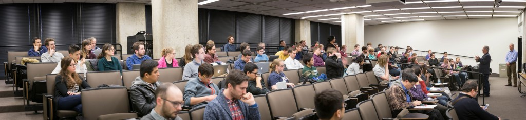 Fermilab Director Nigel Lockyer addresses the CMS Data Analysis School attendees. Photo: Jesus Orduna