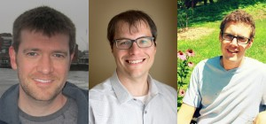 This analysis is the subject of these physicists' Ph.D. theses. From left: Michael Baird (Indiana University), Nicholas Raddatz (University of Minnesota), Dominick Rocco (University of Minnesota). Not pictured: Susan Lein (University of Minnesota).