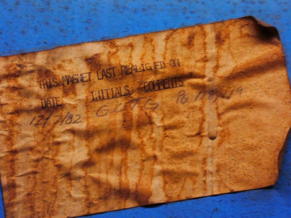 The tag says it all. This piece of history was found in the Tevatron tunnel. Photo: Amy Scroggins, Abri Credit Union