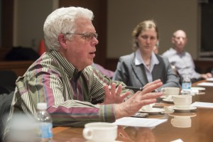 Tom Van Cleave leads a discussion at a recent Fermilab Community Advisory Board meeting. Photo: Reidar Hahn