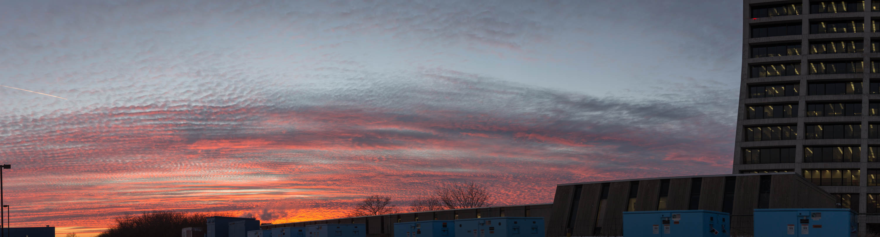 This panoramic view of a sunset as seen from the AZero parking lot was taken on Jan. 29. Photo: Jesus Orduna, Brown University