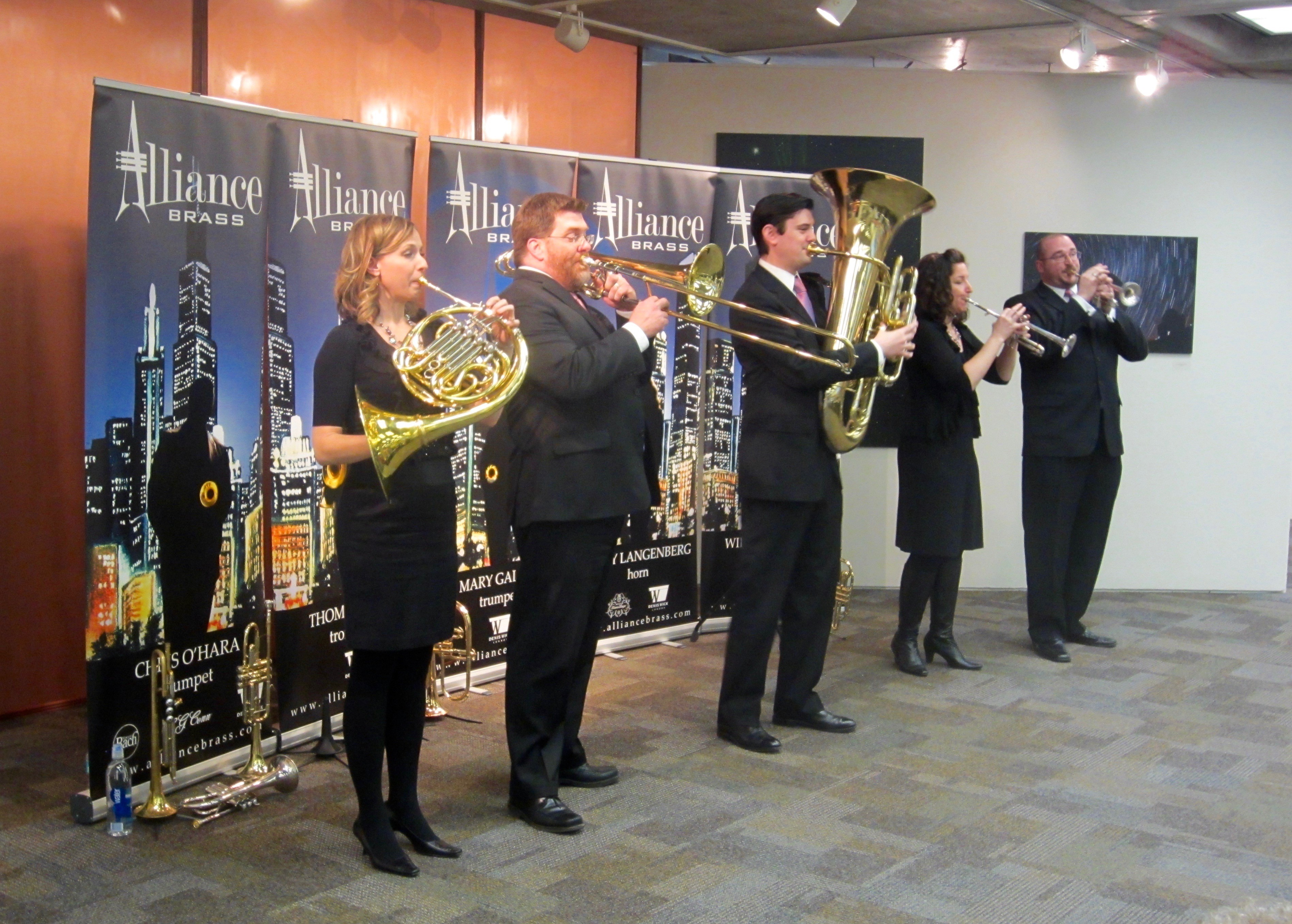 The Alliance Brass performed at Fermilab as part of the Gallery Chamber Series on Feb. 28 at 2:30 p.m. in the Fermilab Art Gallery. Photo: Georgia Schwender, OC