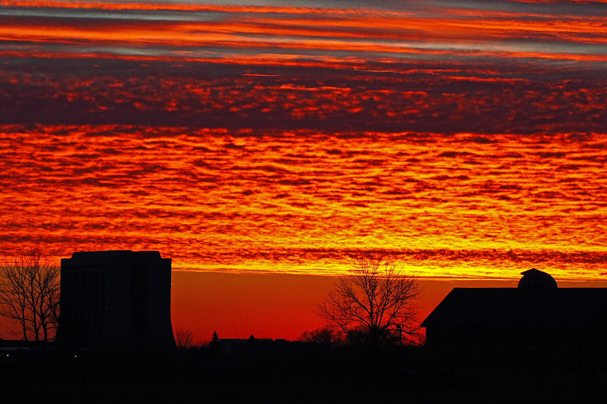 This deep red sunset was captured sunset at Fermilab from North Eola Road on Jan. 29. Photo: Gordon Garcia, Bartlett, Illinois